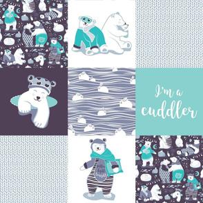 Arctic bear cuddler wholecloth quilt top I // violet beet grey aqua