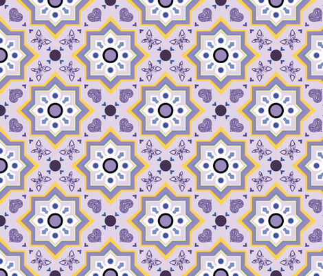 spanish tiles violet and yellow fabric by colorofmagic on Spoonflower - custom fabric