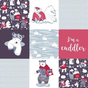 Arctic bear cuddler wholecloth quilt top IV // violet beet grey red