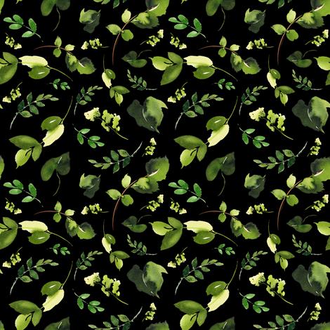 "4"" BOHO SKULL LEAVES / MIX & MATCH / BLACK fabric by shopcabin on Spoonflower - custom fabric"