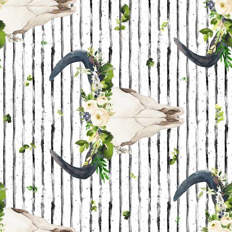"8"" GREEN & WHITE BOHO SKULL / BLACK AND WHITE STRIPES / 90 DEGREES fabric by shopcabin on Spoonflower - custom fabric"