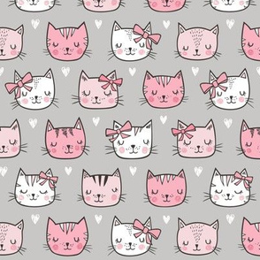 Pink Cat Cats  Faces with Bows and Hearts on Grey Smaller