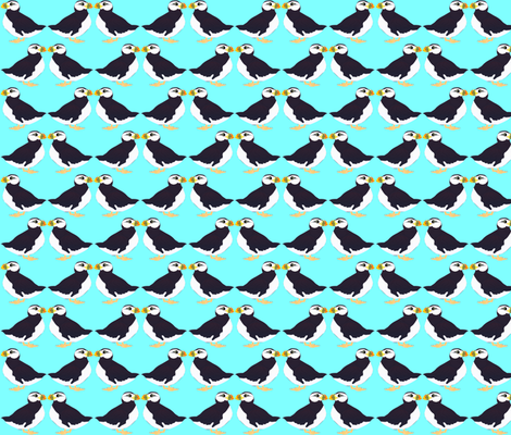 Puffin Pair in Blue fabric by combatfish on Spoonflower - custom fabric