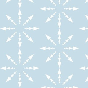 Snowflakes on Blue, Triangle Shapes,