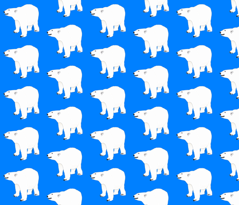 Growling Polar Bear in Blue fabric by combatfish on Spoonflower - custom fabric