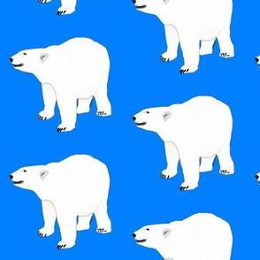 Growling Polar Bear in Blue