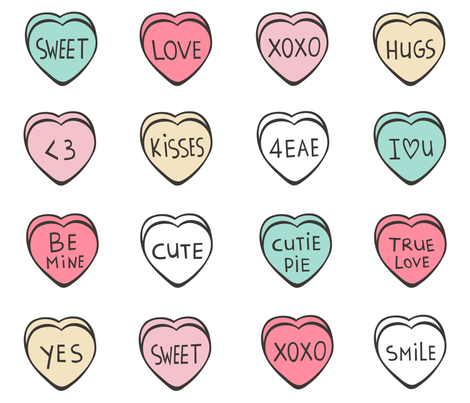 Conversation Candy Hearts Valentine Love Bunting fabric by caja_design on Spoonflower - custom fabric