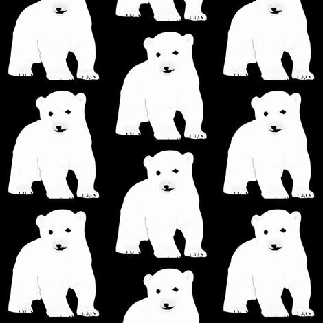 Polar Bear  Cub on Black fabric by combatfish on Spoonflower - custom fabric