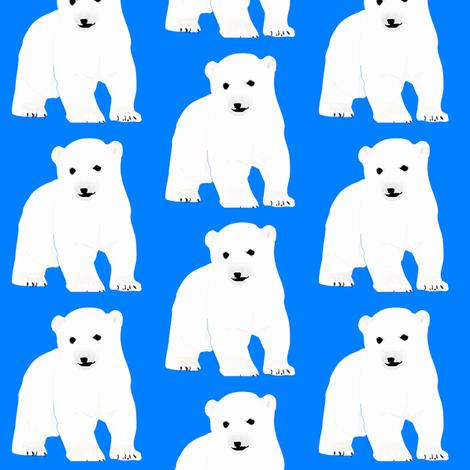 Polar Bear Cub on Blue fabric by combatfish on Spoonflower - custom fabric