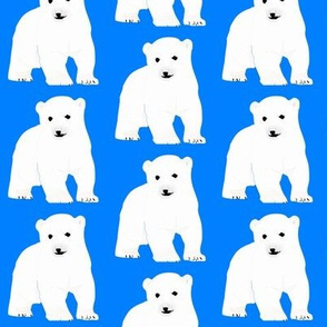 Polar Bear Cub on Blue