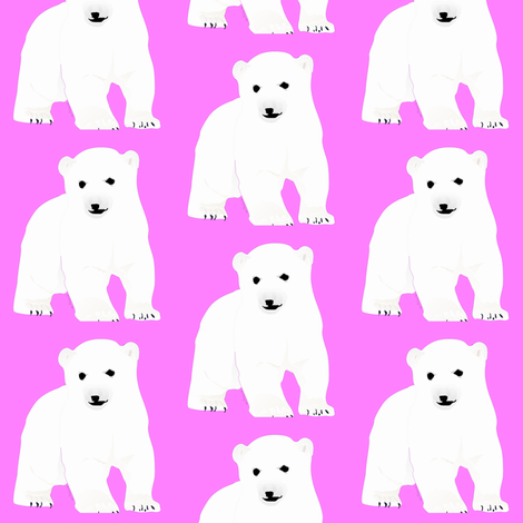 Polar Bear Cub in Pink fabric by combatfish on Spoonflower - custom fabric