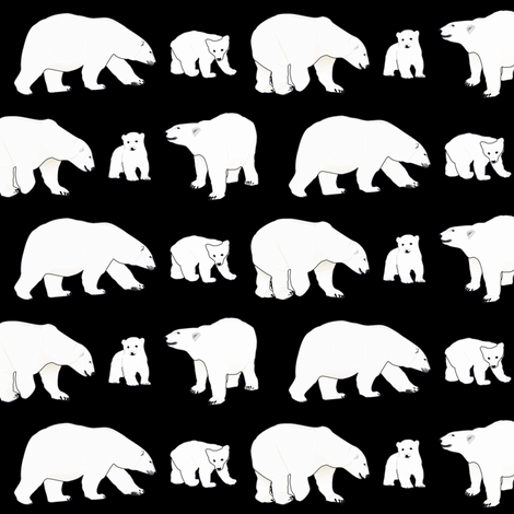 Line of Polar Bears in black fabric by combatfish on Spoonflower - custom fabric