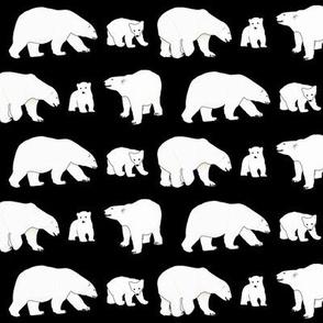 Line of Polar Bears in black