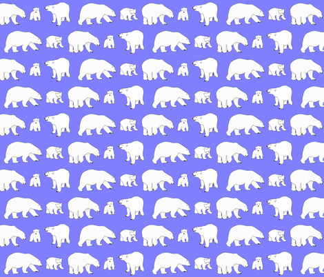 Line of Polar bears on purple fabric by combatfish on Spoonflower - custom fabric