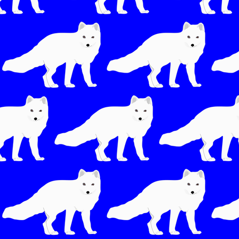 Arctic Fox in Blue fabric by combatfish on Spoonflower - custom fabric