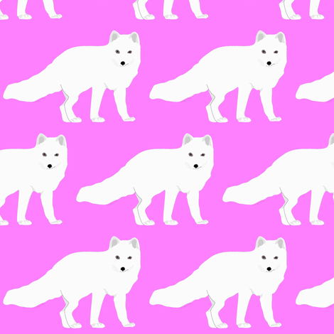 Arctic Fox in Pink fabric by combatfish on Spoonflower - custom fabric