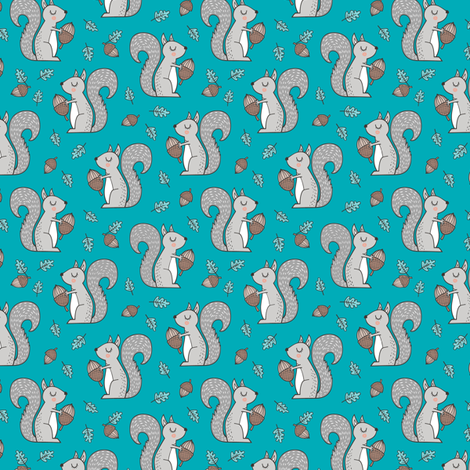 Forest Squirrel Squirrels with Leaves &  Acorn Autumn Fall on Blue Smaller 1 inch fabric by caja_design on Spoonflower - custom fabric