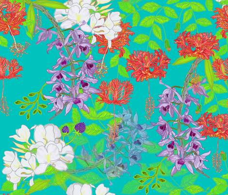 Grandmau0027s Hawaiian Garden Blue Fabric By Honoluludesign On Spoonflower    Custom Fabric