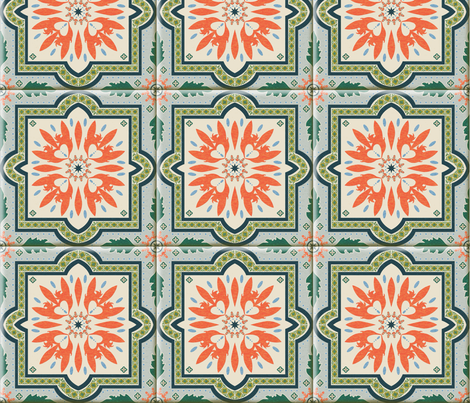 Spanish Tile 2 with Grout fabric by vinpauld on Spoonflower - custom fabric