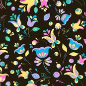 Pastel flowers on black