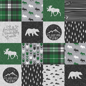 Fearfully and Wonderfully Made Patchwork Fabric || Green &  Grey