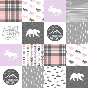 Fearfully and Wonderfully Made Patchwork Fabric || Purple, Pink, Grey