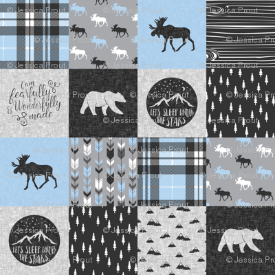 Fearfully and Wonderfully Made Patchwork Fabric || Blue & Grey