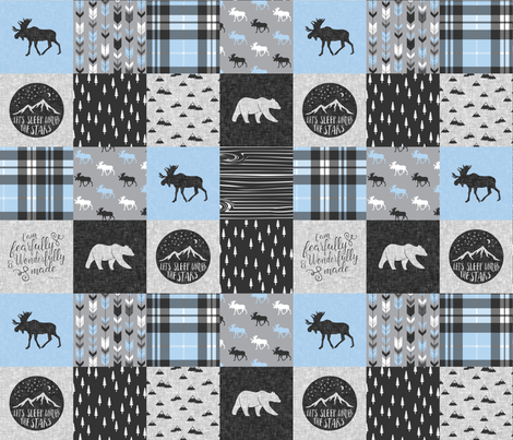 Fearfully and Wonderfully Made Patchwork Fabric || Blue & Grey fabric by littlearrowdesign on Spoonflower - custom fabric