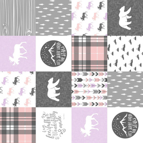 Fearfully and Wonderfully Made Patchwork Fabric || Purple, Pink, Grey (90)