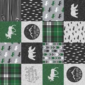 fearfully and wonderfully made quilt top green and grey-05