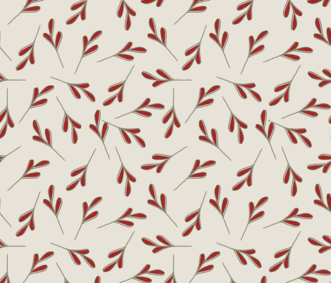 Red and Green Leaves fabric by statement_goods on Spoonflower - custom fabric