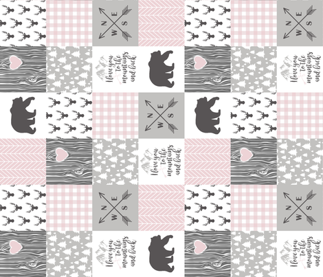 3 inch - To The Mountains - blush/grey - Rotated fabric by longdogcustomdesigns on Spoonflower - custom fabric