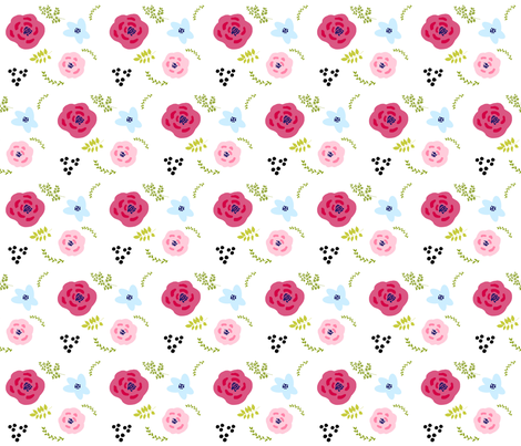 flower doodles MED4- spring garden fabric by drapestudio on Spoonflower - custom fabric