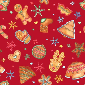 gingerbread on xmas red
