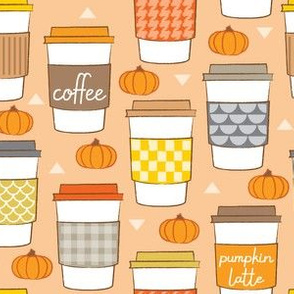coffee cups and pumpkins