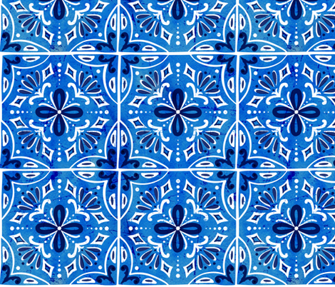 Sevilla - Spanish Tiles Blue fabric by heatherdutton on Spoonflower - custom fabric