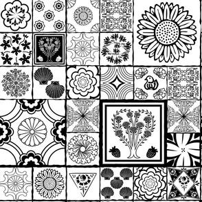 spanish tile black and white
