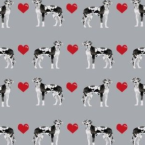 great dane harlequin love hearts dog breed fabric grey