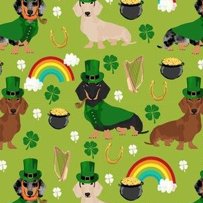 doxie leprechaun fabric - dachshund st patricks day design - lime