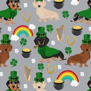 doxie leprechaun fabric - dachshund st patricks day design - grey