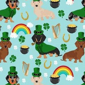 doxie leprechaun fabric - dachshund st patricks day design - blue