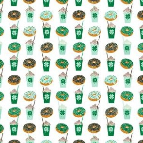 shamrock shake mint iced drink coffee milkshake st patricks day and donuts -small