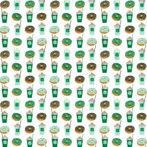 shamrock shake mint iced drink coffee milkshake st patricks day and donuts - tiny