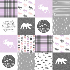 Fearfully and Wonderfully Made Patchwork Fabric || Purple & Grey