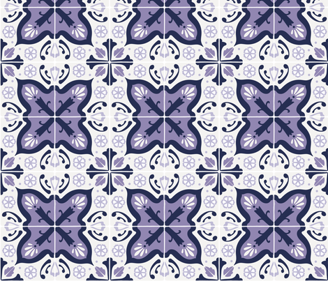 Spanish tiles in purple fabric by lburleighdesigns on Spoonflower - custom fabric