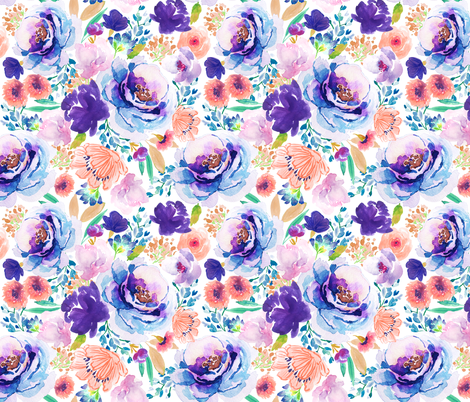 Indy Bloom Ultra Violet Blossom C fabric by indybloomdesign on Spoonflower - custom fabric