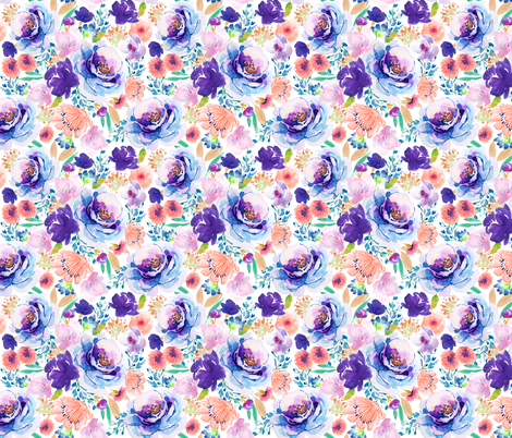 Indy Bloom Ultra Violet Blossom B fabric by indybloomdesign on Spoonflower - custom fabric
