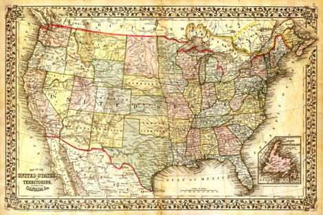 """1867 USA Map (27""""W) fabric by thinlinetextiles on Spoonflower - custom fabric"""