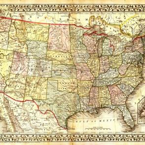 "1867 USA Map (27""W)"