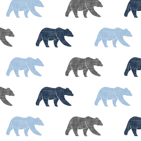 multi bear (small scale) - blue and grey fabric by littlearrowdesign on Spoonflower - custom fabric